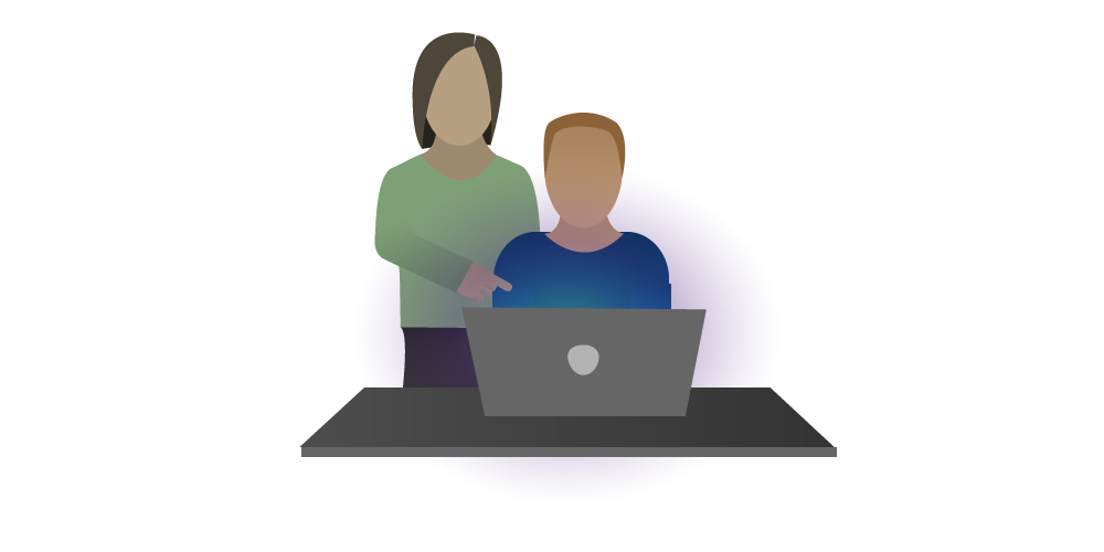 Icon of a male scientist sitting at a computer with a female scientist standing behind training them on how to use software