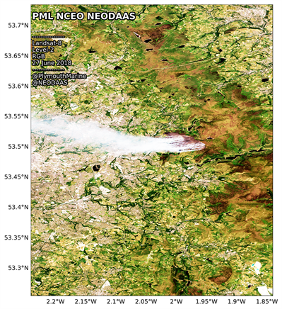 Satellite image of the fire at Saddleworth moor