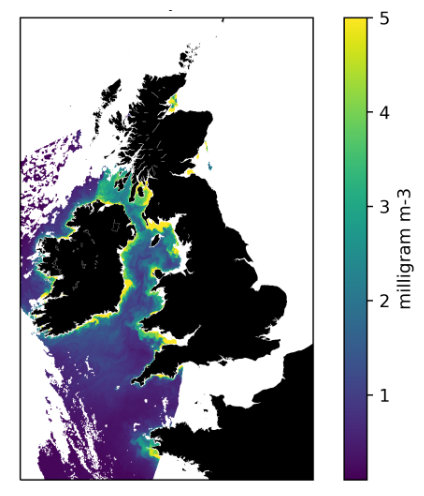 Chlorophyll concentration over the UK on the 22nd February 2021 derived from Copernicus Sentinel 3A OLCI data using the updated OC4ME Algorithm