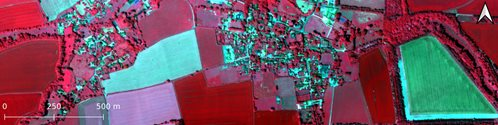Specim Fenix hyperspectral data collected over Harwell, Oxfordshire displayed as near infra-red false colour composite
